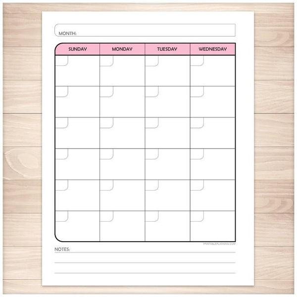 Pink Left Monthly Calendar Planner Page - Printable Planning