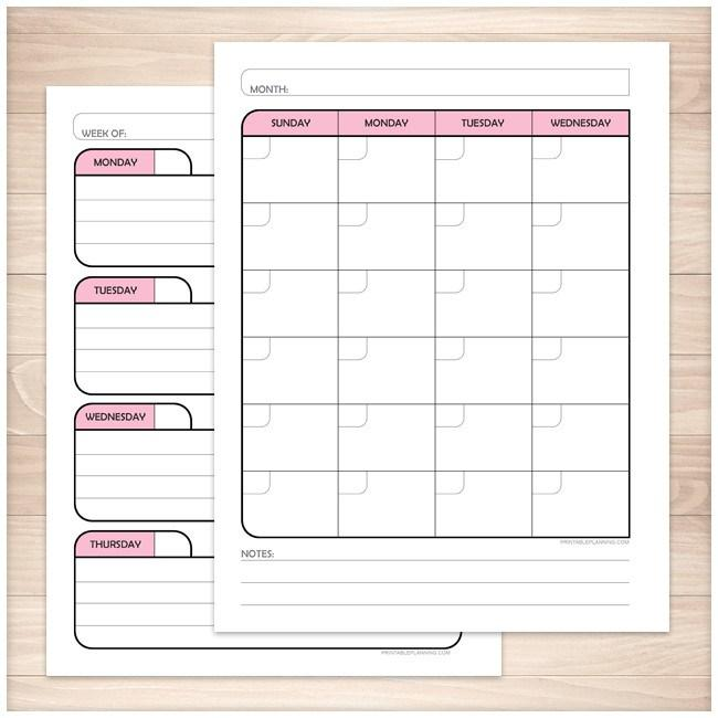 Pink Monthly Weekly Calendar Planner Pages - Printable Planning