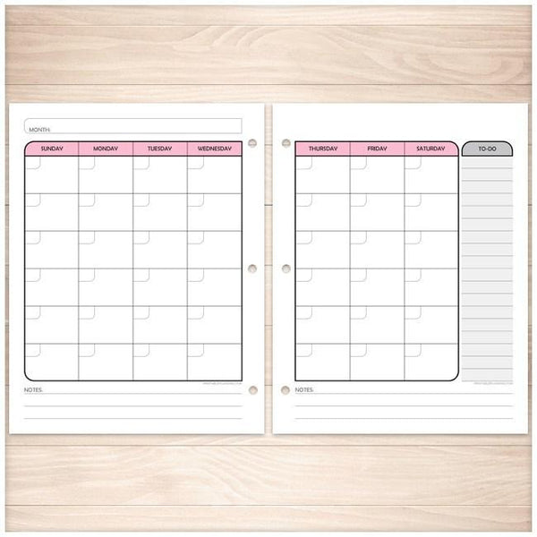Pink Monthly Calendar Planner Pages - Printable Planning