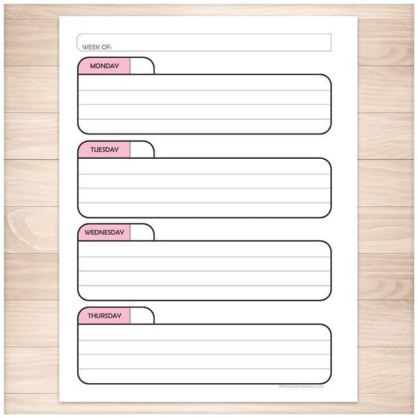 Pink Left Weekly Calendar Planner Page - Printable Planning