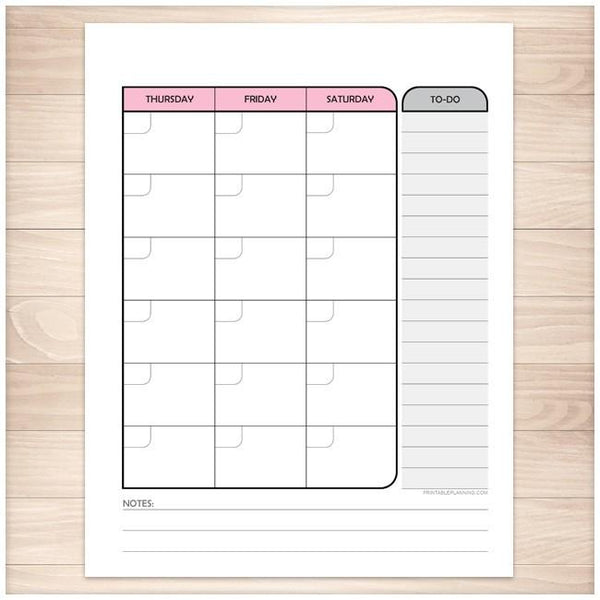 Pink Right Monthly Calendar Planner Page - Printable Planning