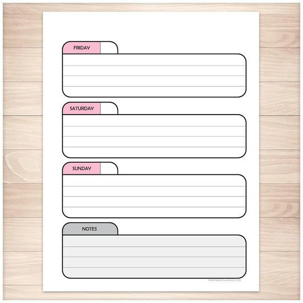 Pink Right Weekly Calendar Planner Page - Printable Planning