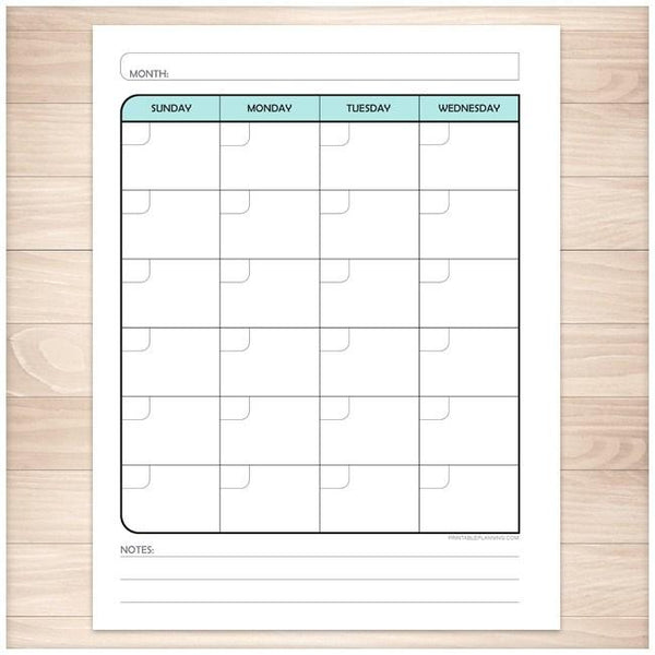 Teal Monthly Left Calendar Planner Page - Printable Planning