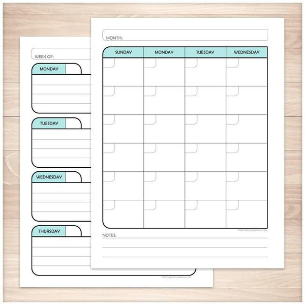 Teal Monthly Weekly Calendar Planner Pages - Printable Planning
