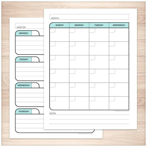 Teal Monthly Weekly Calendar Planner Pages - Printable, at Printable Planning