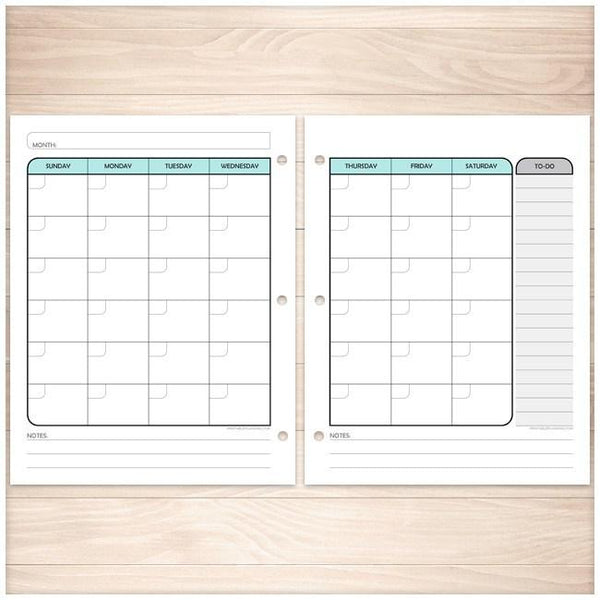 Teal Monthly Facing Calendar Planner Pages - Printable Planning