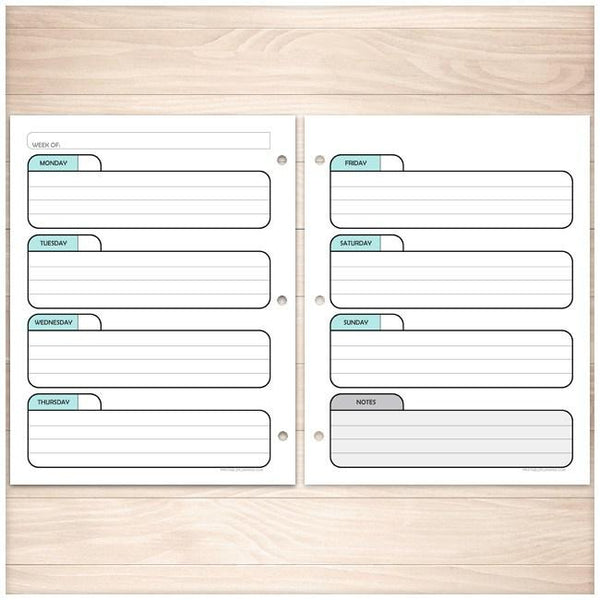 Teal Weekly Facing Calendar Planner Pages - Printable Planning