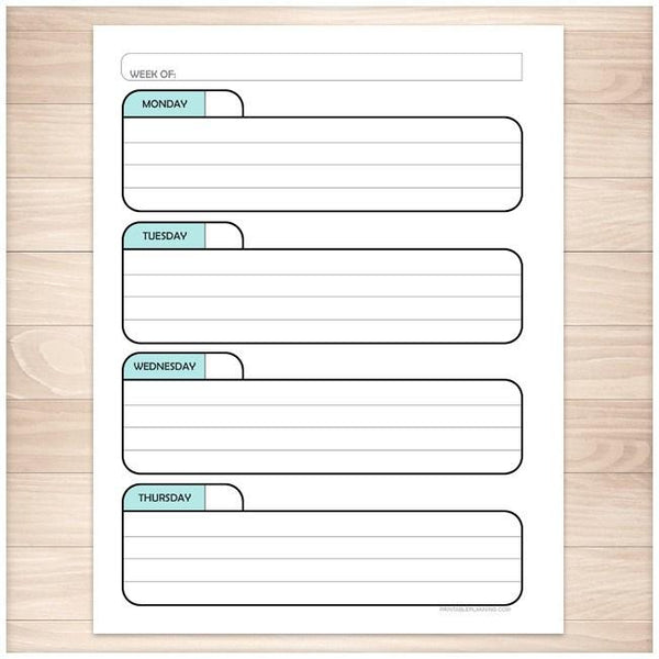 Teal Weekly Left Calendar Planner Page - Printable Planning