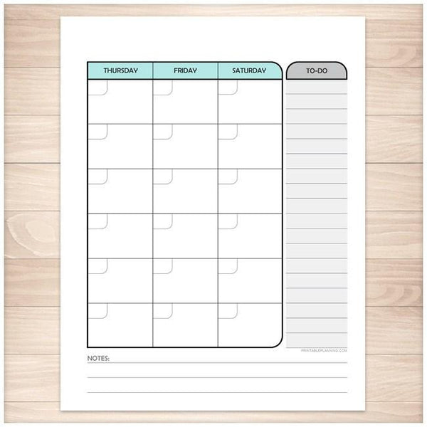 Teal Monthly Right Calendar Planner Page - Printable Planning
