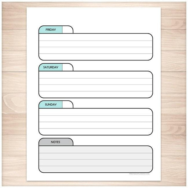 Teal Weekly Right Calendar Planner Page - Printable Planning