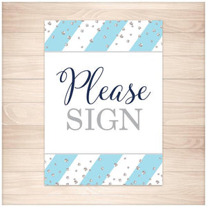 """Please Sign"" Wedding Guest Sign in Blue and Silver - Printable"
