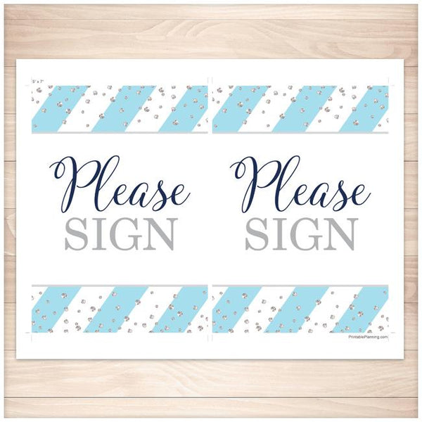 """Please Sign"" Wedding Guest Sign in Blue and Silver - Printable Planning"