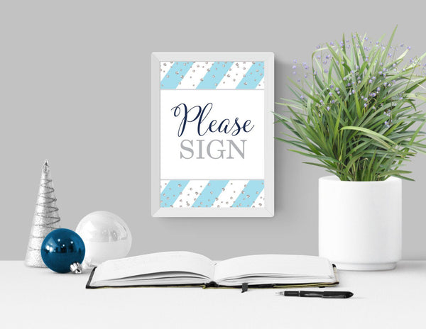 """Please Sign"" Wedding Guest Sign in Blue and Silver EXAMPLE - Printable"