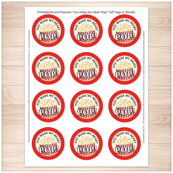 "Popcorn 2"" Round ""You Make My Heart Pop!"" Favor Stickers 12up - Printable Planning"