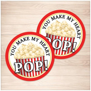 "Popcorn 2"" Round ""You Make My Heart Pop!"" Favor Stickers - Printable, at Printable Planning"