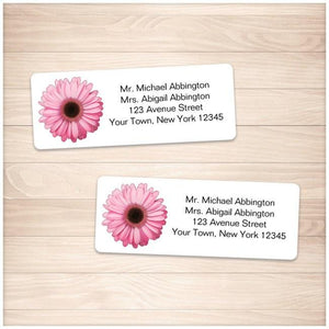 Pretty Personalized Pink Daisy Address Labels - Printable Planning