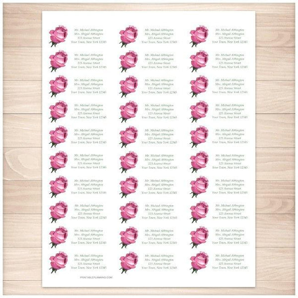 Pretty Personalized Pink Rose Address Labels 30up - Printable Planning