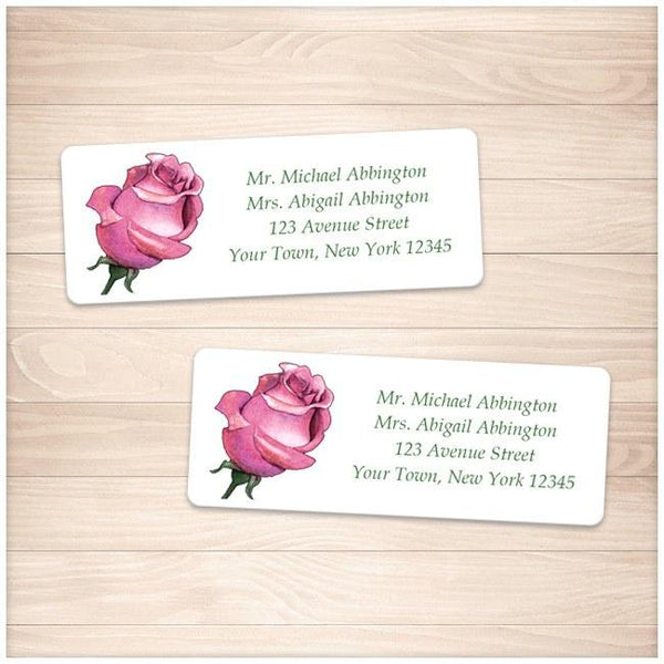 Pretty Personalized Pink Rose Address Labels - Printable Planning