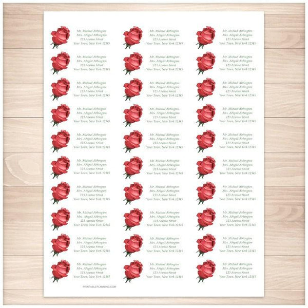 Pretty Personalized Red Rose Address Labels 30up - Printable Planning