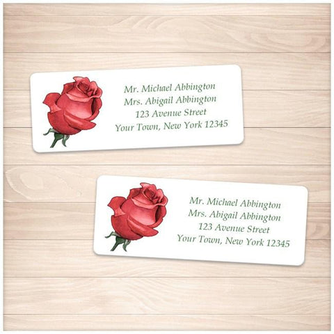 Pretty Personalized Red Rose Address Labels - Printable Planning