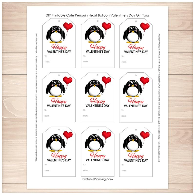 photograph regarding Cute Gift Tags Printable known as Lovely Penguin Middle Balloon Valentines Working day Reward Tags - Printable