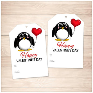 Cute Penguin Heart Balloon Valentine's Day Gift Tags - Printable, at Printable Planning