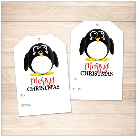 Cute Penguin Merry Christmas Gift Tags - Printable, at Printable Planning
