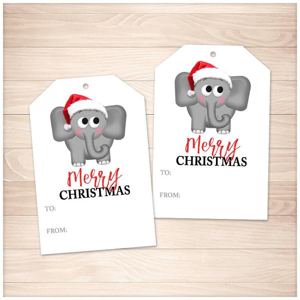 Cute Santa Hat Elephant Merry Christmas Gift Tags - Printable, at Printable Planning