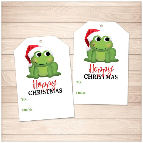 Cute Santa Hat Frog Hoppy Christmas Gift Tags - Printable, at Printable Planning
