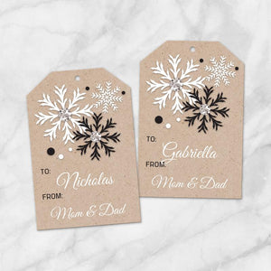 Printable Kraft design Black and White Christmas Gift Tags at Printable Planning