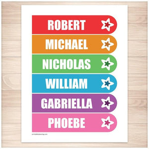 Personalized Rainbow Star Bookmarks - Printable, at Printable Planning