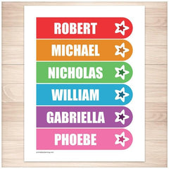 Personalized Rainbow Star Bookmarks - Printable
