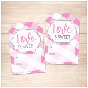 Pink Gingham Love is Sweet Gift Tags - Printable, at Printable Planning
