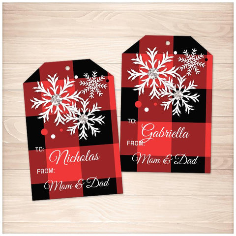 Personalized Red Buffalo Plaid Gift Tags - Printable, at Printable Planning