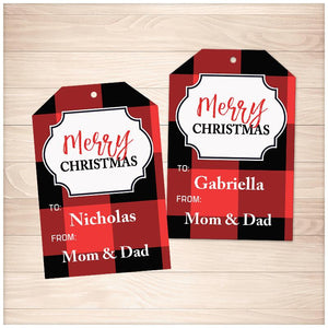 Personalized Red Buffalo Plaid Merry Christmas Gift Tags - Printable, at Printable Planning