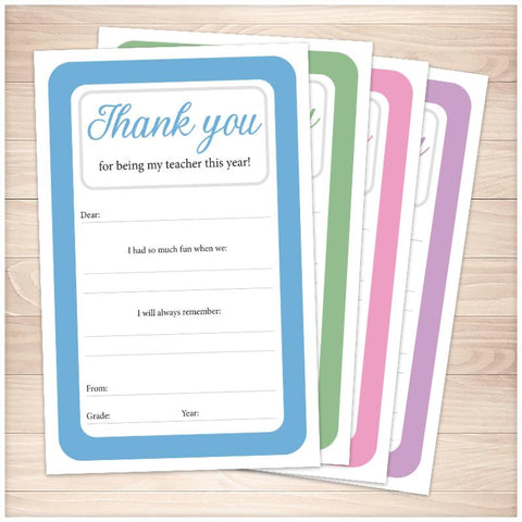 Teacher Thank You Notes - 2 Per Page - BUNDLE in 4 Colors - Printable, at Printable Planning