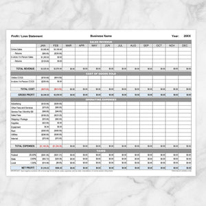 Profit Loss Statement with Auto-Calculating Totals - Printable, at Printable Planning