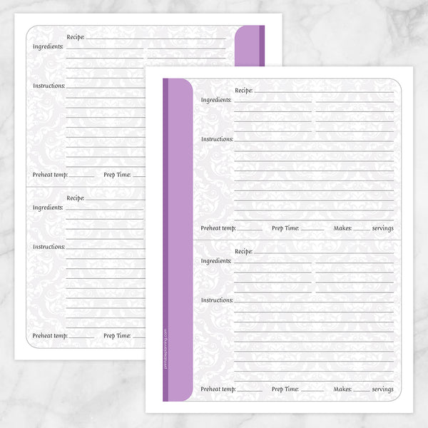 Printable Purple Damask Recipe Pages at Printable Planning