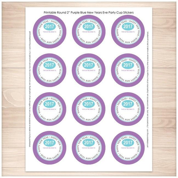"Purple 2"" Round New Years Eve Party Cup Stickers 12up - Printable Planning"
