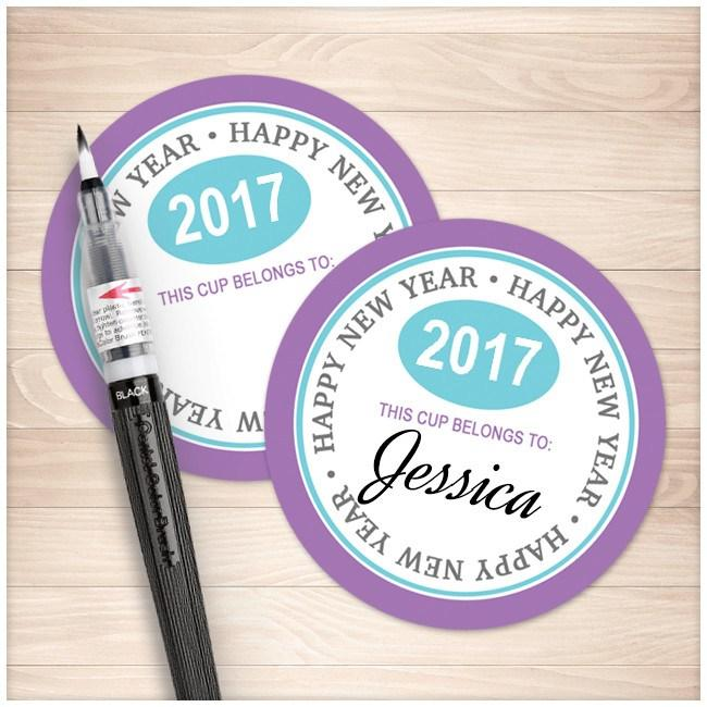 "Purple 2"" Round New Years Eve Party Cup Stickers - Printable Planning"