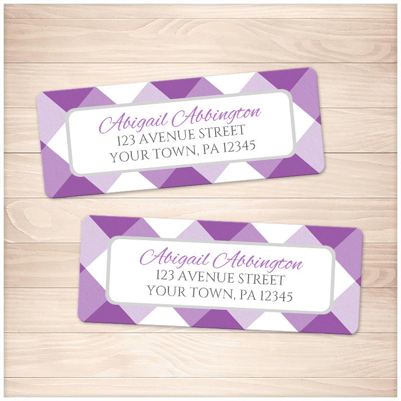 purple gingham pattern address labels printable at printable