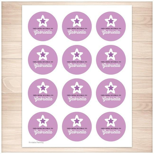 Purple Star Personalized Bookplate Stickers - Printable Planning