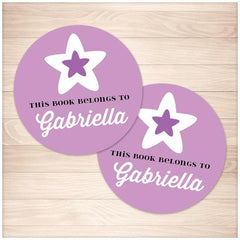 Purple Star Personalized Bookplate Stickers 2up - Printable Planning