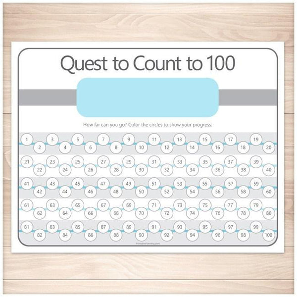 Quest to Count to 100 - BLUE Kids Counting Sheet - Printable Planning