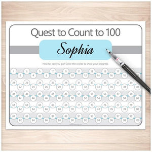Quest to Count to 100 - BUNDLE of 4 Kids Counting Sheets - Printable, at Printable Planning