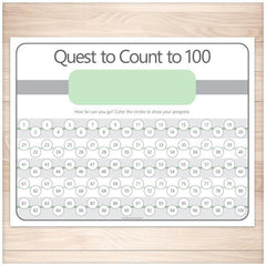 Quest to Count to 100 - GREEN Kids Counting Sheet - Printable Planning