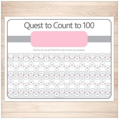 Quest to Count to 100 - PINK Kids Counting Sheet - Printable Planning
