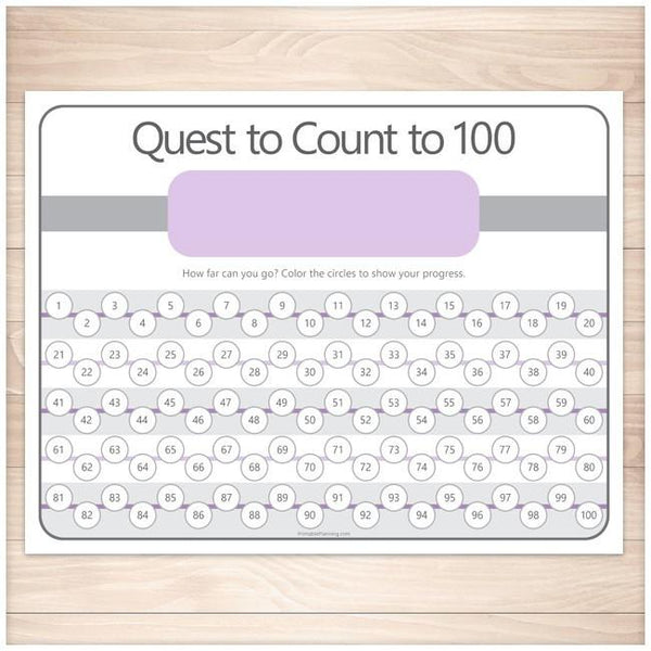 Quest to Count to 100 - PURPLE Kids Counting Sheet - Printable Planning