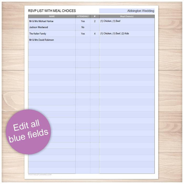 Printable RSVP List with Meal Choices at Printable Planning