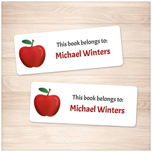 Red Apple Bookplate Labels for Name Labeling Books - Printable